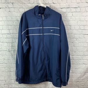 Nike Mens Navy Microfaille Polyester Track Jacket